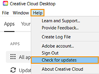 Check for updates option on the Help menu