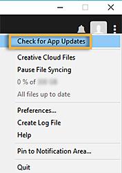 Check for App Updates option (Old version)