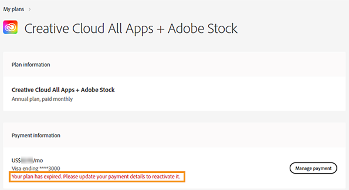 Your Creative Cloud plan has expired